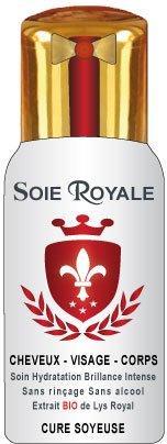 Soie Royale Cure Soyeuse 125 ml Protéines de Soie Extrait BIO de Lys Royal Antioxydant Vitamines Cheveux Visage Corps Brillance intense.