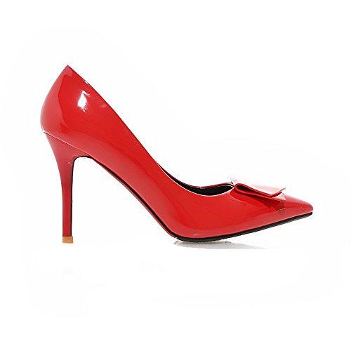VogueZone009 Femme Pu Cuir à Talon Haut Pointu Couleur Unie Tire Chaussures Légeres Rouge