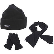 Fleece Winter Spar Paket - Mütze - Handschuhe - Schal - Aus kuscheligem warmen Fleece in schwarz