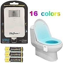 Luz de noche LED para aseo, Luz para el WC a pilas provista de sensor de movimiento para activación automática (16 colores)