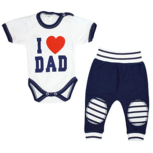 TupTam Unisex Baby Bekleidung mit Spruch 2er Set , Farbe: I Love Dad Dunkelblau, Größe: 92