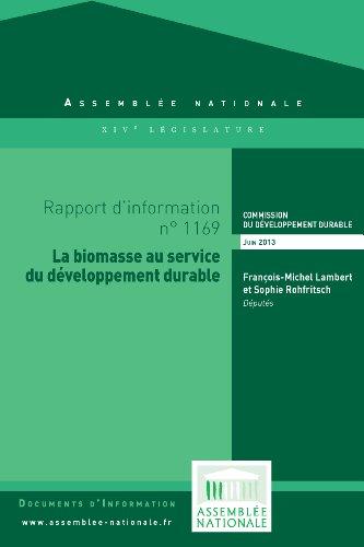 Rapport d'information « La biomasse au service du développement durable » par Assemblée nationale