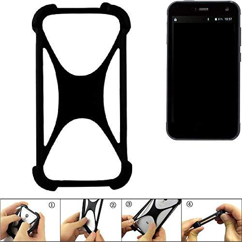 K-S-Trade Handyhülle für Cyrus CS 28 Schutz Hülle Silikon Bumper Cover Case Silikoncase TPU Softcase Schutzhülle Smartphone Stoßschutz, schwarz (1x)