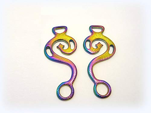 PS Pferdeartikel Hackamore Barock Regenbogenfarben, Multicolour Rainbow - 1 Paar Schenkel, verziert