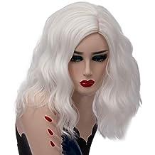 HongHu corto y rizado ondulado pelucas esponjosas Anime Cosplay Full Hair Party pelucas para mujeres blancas