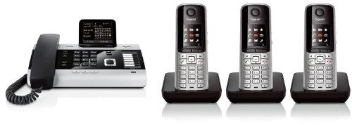 Siemens Gigaset DX600A TRIO SET mit 3x S810H Mobilteil – ISDN, Anrufbeantworter, Bluetooth® ECO DECT, schwarz
