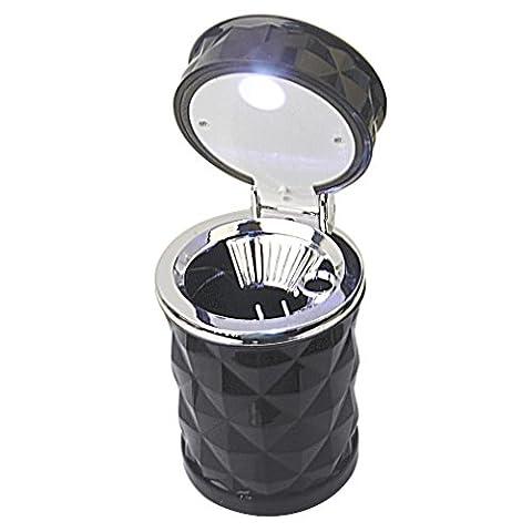 EarthSafe® Car Cigarette Ashtray, Portable Cool Diamond Cut Face Auto Cigarette Cup Holder with LED Light (Black)