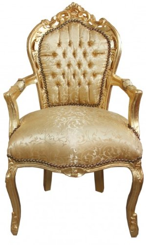 Casa Padrino Barock Esszimmerstuhl Gold Muster/Gold mit Armlehne Barock Möbel Antik Stil