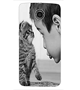 ColourCraft Cute Cat Design Back Case Cover for MOTOROLA GOOGLE NEXUS 6