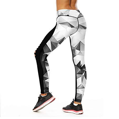 Uicici pantaloni da yoga in bianco e nero cucitura digitale vita alta piedi rapidi a secco nove punti per le donne fitness (size : m)