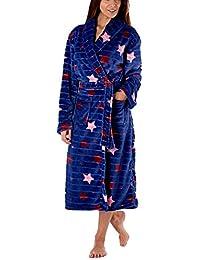 3d7dc3f953 Slumber Hut Ladies Fleece Dressing Gown Luxury Flannel Shawl Snuggle Shadow  Embossed Stripe Navy Blue Star Grey Heart Print Size UK…