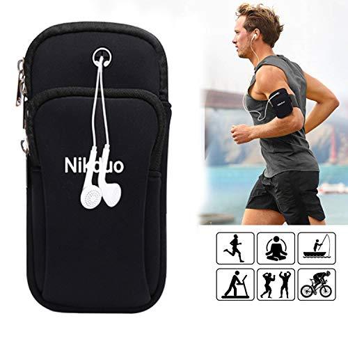 Nikduo Fascia Sportiva da Braccio,borsa da braccio per telefono con 2 Tasche universale portacellulare per correre con telefono foro auricolare per iPhone Xs Max Xr 8 Plus Huawei Xiaomi nero