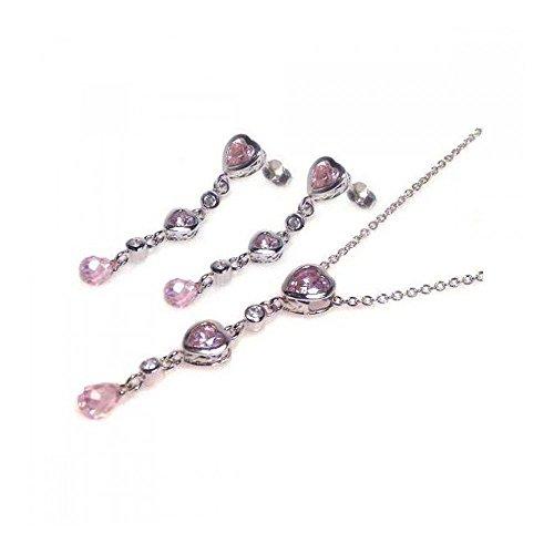 Rhodium beschichtetes Set aus Sterling Silber mehrstufiger rosa Herz & klare Tränen Zirkonia Ohrhänger & Halskette Set (10k White Gold Rosa Herz Ring)