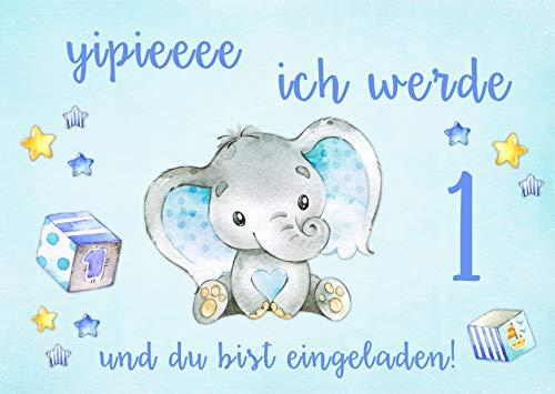 Danis Zauberlädchen 10 Einladungskarten Baby Elefant blau 1. Kindergeburtstag Kinder Party Geburtstag-Einladungen zum Ausfüllen (Jungen)