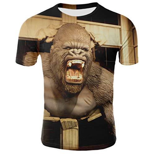 TAMALLU Herren T-Shirt Bedruckt Lässige Kurzarm Rundhals Modische T-Shirt Bluse(Gold,M)