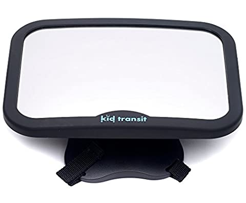 Baby Car Mirror by KID TRANSIT - for UK Rear Facing Child Seats | KNOW THAT YOUR BABY IS SAFE | Colour: Black | Size: Large