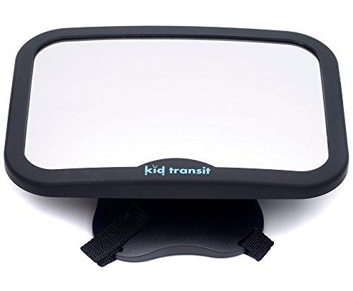 Baby-Autospiegel von Kid Transit - groß, glasklar und sicher. Universeller, wackelfreier Rücksitzspiegel, speziell für Babys und Kleinkinder entwickelt - Schwarz (Halter Matte Spielen)