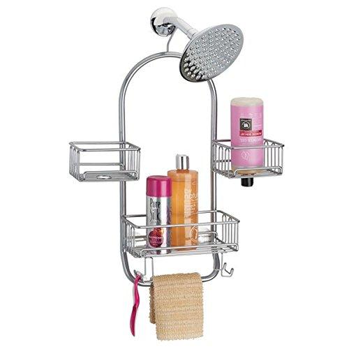 Mdesign portaoggetti per doccia da appendere – pratica mensola doccia in metallo antiruggine – 3 cestini, un'asta portasciugamani e 4 ganci per tutti i vostri accessori per doccia – argento