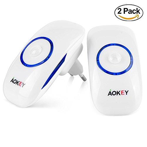 Luz Nocturna, Aokey LED Lámpara de Noche Sensor de Movimiento Inalámbrica Enchufable para el Dormitorio, la Escalera, el Pasillo, la Habitación del Bebé y el Baño (2 Unidades)