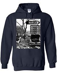 Harlem Backstreet NY Gangster Novelty White Femme Homme Men Women Unisex Sweat à Capuche Hooded Sweatshirt Hoodie