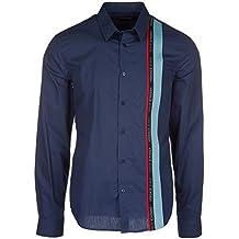 Versace Jeans Camisa de Mangas Largas Hombre Nuevo BLU