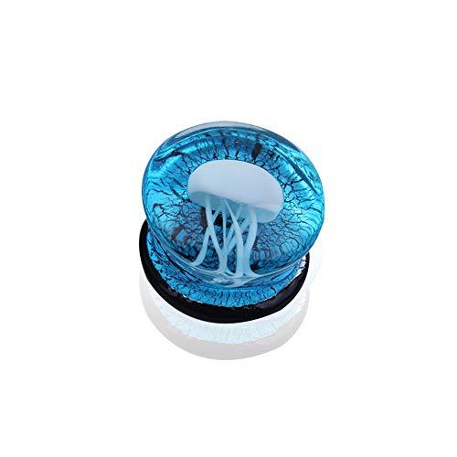 BlackAmazement Glas Borosilikatglas Tunnel Plug Piercing Qualle Jellyfish weiß blau Damen Herren (08 mm - 1 Stück) - Womens Quallen