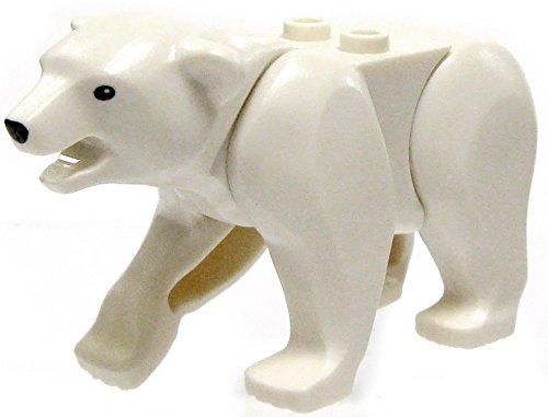 LEGO Animal Minifigure Husky Artic White Polar Bear Black Eyes - Nose (Aprox. 2 inch Size) by LEGO