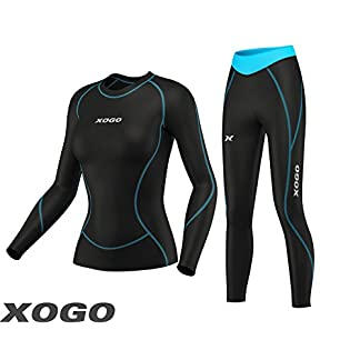 XOGO Womens Compression Base layers for All Season - Long Sleeve Compression Tops and Legging – Sports Base layers for Women - For Running, Cycling and Yoga – UV Sun Protection and 4 Way Stretch 10