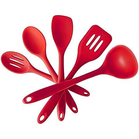 5 piezas juego de utensilios de cocina de silicona - cuchara, espátula, cuchara de mezcla, espátula de la cuchara, y cuchara ranurada - caja fuerte del