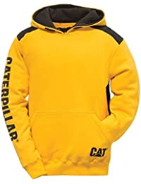 Caterpillar Mens Logo Panel Hooded Sweashirt Hoodie Black