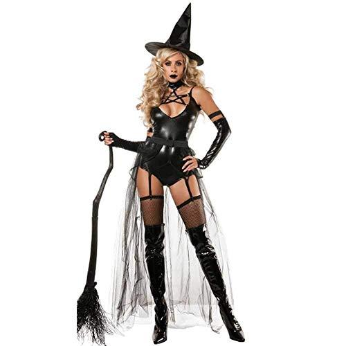 Sexy Kostüm Böse Hexe - GWNJSSX Halloween Kostüm,Sexy Märchen Böse Damen Hexe Mit Kleid Handschuhen and Hut