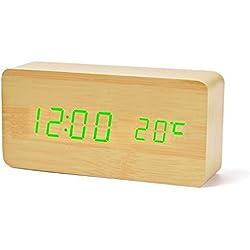 Reloj Despertador Cunze LED Digital Digital Modo de voz de madera Tres alarmas Reloj eléctrico Fecha Temperatura Calendario Pantalla digital Brillo ajustable