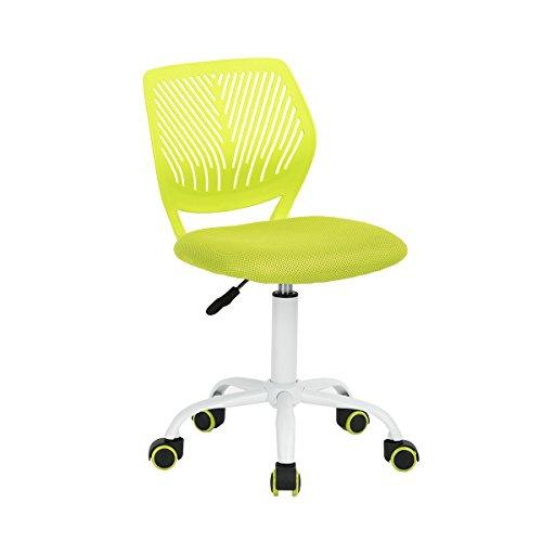 FurnitureR, sedia da ufficio con design regolabile, sedia da computer per bambini, sedia da studio girevole per scrivania senza braccioli per bambini, verde