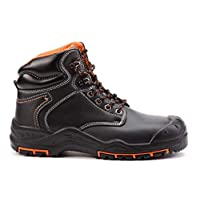 Black Hammer Mens Leather Safety Boots S3 SRC Steel Toe Cap Work Shoes Ankle Hiking 9972