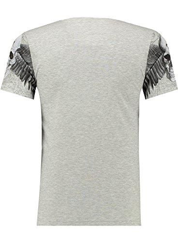 Black Rock Blackrock Herren T-Shirt Slim-Fit Totenkopf Skull Bones Adler Elasthan 71309 - GRAY MELANGE