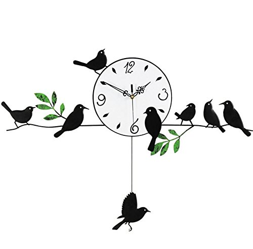 Balançoire pastorale horloge murale moderne salon horloge muet horloge murale