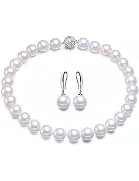 Perlenkette Perlenohrringe Weiß/Weiss Perlen Kette Perlen Halskette Perlen Ohrringe Schmuck-Set Damen