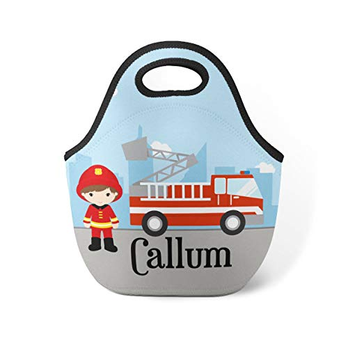 Fire Truck Personalized Lunch Tote City Firefighter Lunch Bag Red Firetruck Neoprene Lunch Tote Bag You Pick Boy Kid Personalized Gift -