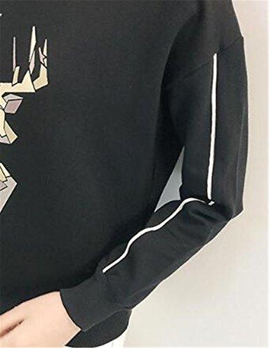 Tayaho T Shirt Manche Longue Femme Imprime Casual Cute T-Shirt Col Rond à Manches Longues Couleur Unie Hauts Tops Pull Blouse Automne Hiver Black