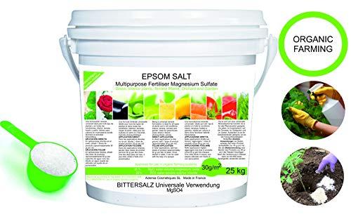 solfato di magnesio fertilizzante naturale 25 kg. uso universale. migliora la crescita di colture, giardini, piante da appartamento ed esterno consentito in agricoltura biologica