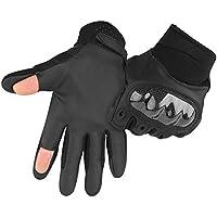 Guantes tácticos de accmor con pantalla táctil con diseño de dedos cortados, tácticos militares duros nudillos guantes de dedo completo para ciclismo, motocicleta, senderismo, acampada, airsoft, paintball, Large, Negro