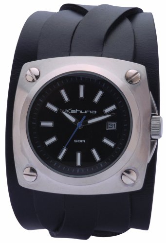Kahuna KUC-0007G – Reloj de caballero de cuarzo, correa de piel color negro