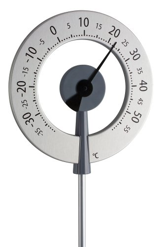 TFA Dostmann Lollipop analoges Design-Gartenthermometer, 12.2055.10, wetterfest, mit großen Ziffern
