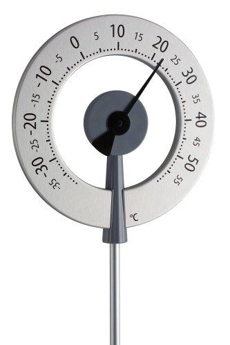 TFA Dostmann Design-Gartenthermometer Lollipop 12.2055.10, anthrazit mit schwarzem Zeiger