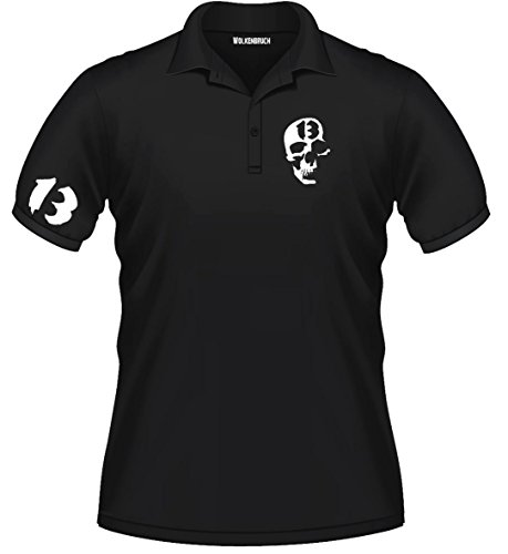 "Sputnik Shirts - Polo ""Skull 13"" con teschio, taglie da S a 5XL"