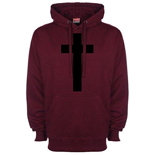 Croce Hipster Religion Felpa Con Cappuccio Burgundy L / 106,68 cm-111,76 cm