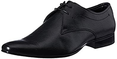 Auserio Men's Black Leather Formal Shoes - 10 UK/India (44 EU)(SS-207)