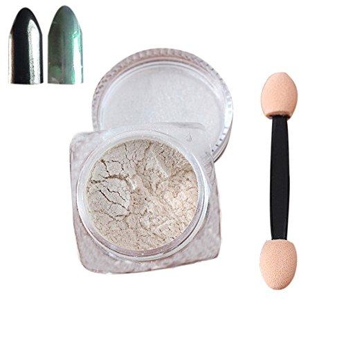 Sunenjoy Chrome Argent Mirror Nail Poudre Paillettes Shinny Licorne Nail Art Paillette Poussière Manucure Diy Design Décoration (vert)
