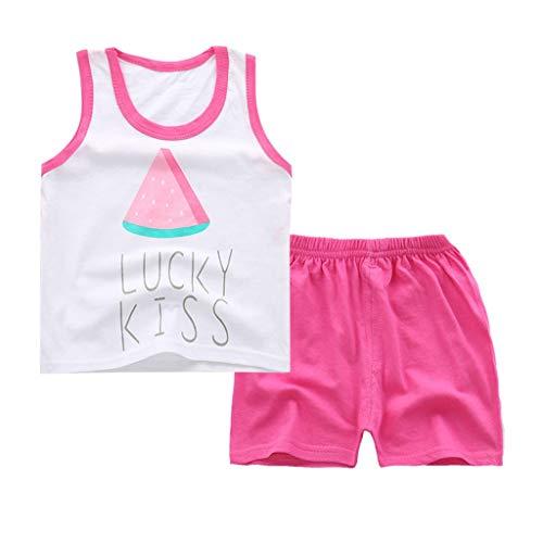 LABIUO Kinderanzug,Kind ärmellose Karikatur Trainingsanzug Sport Klage Weste Hosen Kleidung Weste Anzug Zweiteilig(Pink,3-4 Jahre/75) -