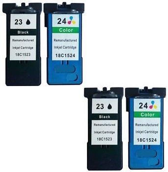 Preisvergleich Produktbild 4 Druckerpatronen für Lexmark X3430,  X3500,  X3530,  X3550,  X4500,  X4530,  X4550,  Z1400,  Z1410,  Z1420,  Z1450 / kompatibel zu Lexmark 23 & 24